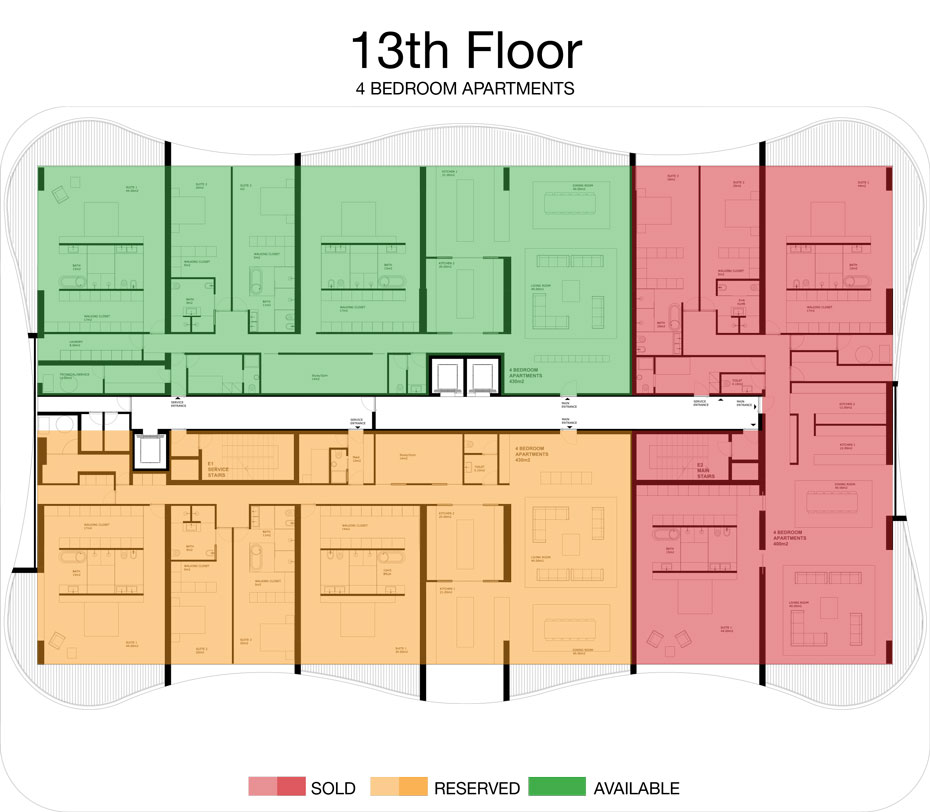 LorenzoBySujimoto Luxury Apartments - Floor plan - 13th Floor